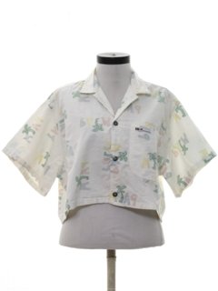 1980's Womens Totally 80s Reverse Print Cropped Shirt