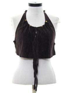1980's Womens Suede Cropped Halter Top Hippie Shirt