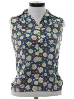 1960's Womens Mod Floral Shirt
