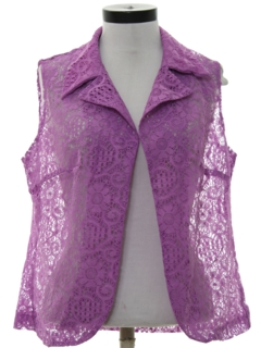 1970's Womens Lace Vest Style Over Shirt