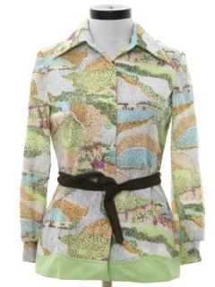 1970's Womens Mod Print Disco Style Knit Shirt