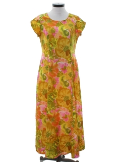 1960's Womens Mod Hawaiian Inspired Dress