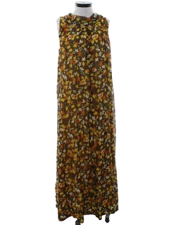 1970's Womens A-line Maxi Hippie Dress