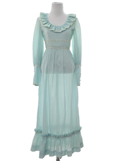 1970's Womens Prairie Style Prom Or Cocktail Maxi Dress