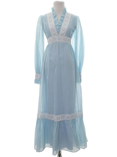 1960's Womens Prairie Style Hippie Prom Or Cocktail Dress