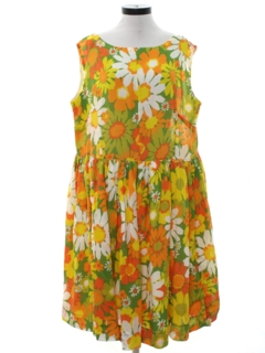 1960's Womens Mod Pow-Flower Hippie Dress
