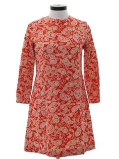 1960's Womens Mod Paisley Go-Go Style Dress