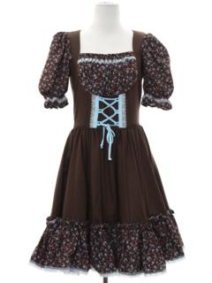 1970's Womens Dirndl Bavarian Oktoberfest Style Dress