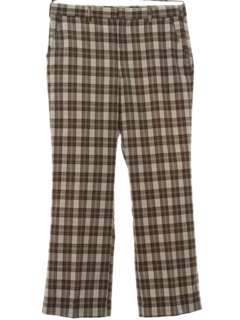 1970's Mens Flared Plaid Golf Style Disco Pants