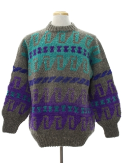 1980's Mens Wool Totally 80s Hippie Style Sweater