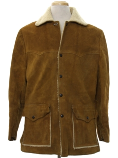 1970's Mens Western Suede Leather Car Coat Jacket