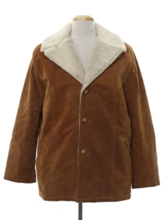 1970's Mens Suede Leather Car Coat Jacket