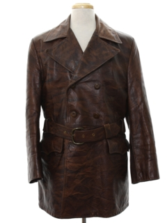 1970's Mens Mod Leather Double Breasted Car Coat Jacket