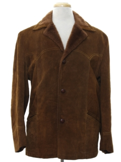 1970's Mens Western Leather Car Coat Jacket