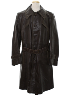 1970's Mens Leather Trench Coat Jacket