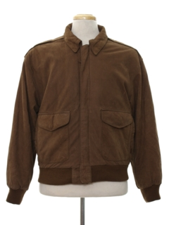 1980's Mens Totally 80s Leather Bomber Style Jacket