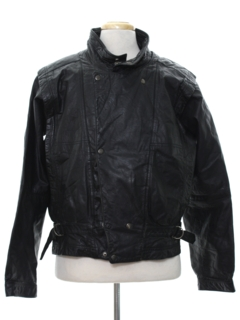 1980's Mens Totally 80s Motorcycle Leather Jacket