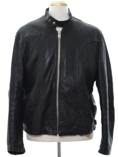 1980's Mens Mod Cafe Racer Leather Motorcycle Jacket