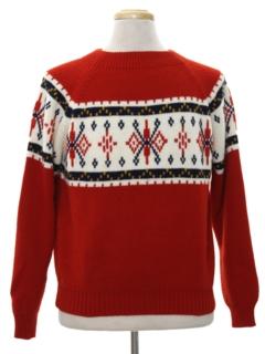 1970's Mens Vintage Snowflake Ski Sweater