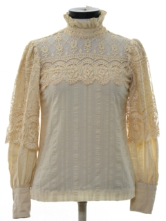1970's Womens Victorian Style Lace Hippie Shirt