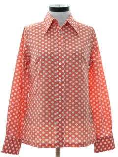 1970's Womens Polka Dot Print Shirt