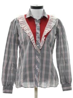 1970's Womens Prairie Style Ruffled Western Shirt