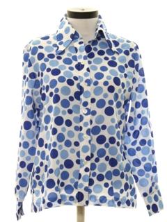 1970's Womens Mod Print Disco Style Shirt