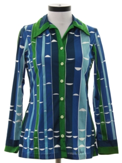 1970's Womens Designer Print Disco Shirt