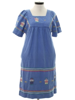 1970's Womens Guatemalan Style Hippie A-Line Dress
