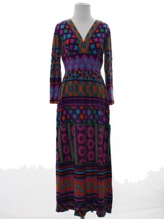 1970's Womens Mod Print Maxi Hippie Dress
