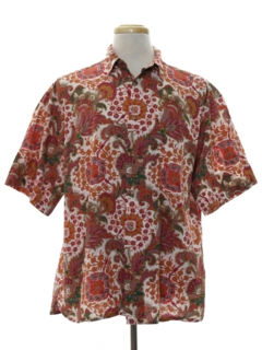 1980's Mens Graphic Print Linen Sport Shirt