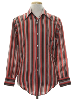 1970's Mens Mod Striped Print Shirt