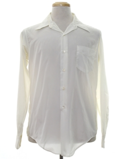 1970's Mens Solid Nylon Disco Style Shirt
