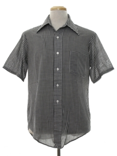1970's Mens Gingham Check Print Shirt