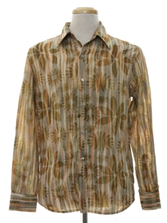 1980's Mens Hippie Style Graphic Print Shirt
