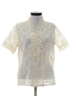 1980's Womens Ruffled Totally 80s Lace Shirt