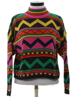 1980's Womens Totally 80s Cropped Sweater
