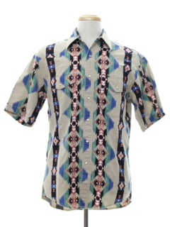 1980's Mens Geometric Print Western Shirt