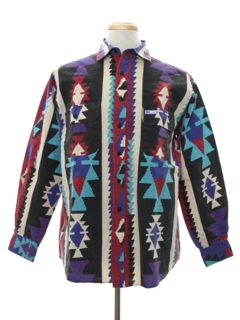 1990's Mens Wicked 90s Geometric Southwestern Print Shirt