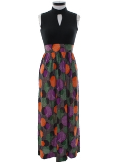 1960's Womens Mod Print Maxi Dress