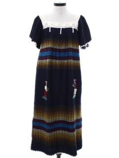 1960's Womens Guatemalan Style Hippie Dress