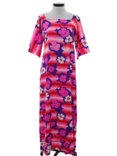 1970's Womens Mod A-Line Hawaiian Maxi Dress