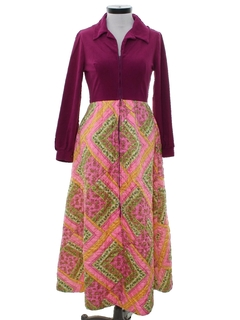 1960's Womens Hippie Maxi Lounge Dress
