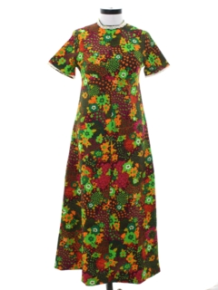 1960's Womens Pow-Flower Hippie Maxi Dress