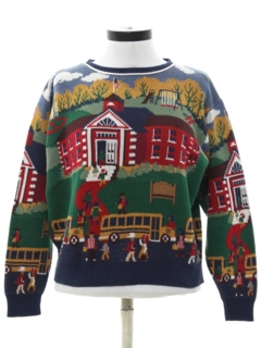 1980's Womens Totally 80s Schoolhouse Sweater