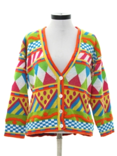 1980's Womens Totally 80s Abstract Cardigan Sweater