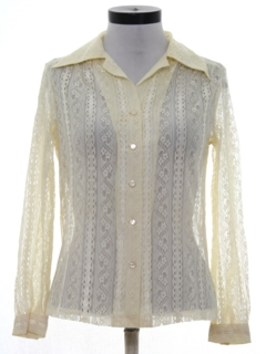 1970's Womens Lace Solid Disco Style Shirt
