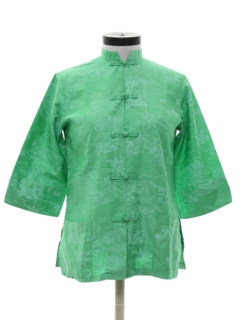 1960's Womens Mod Asian Cheongsam Style Hawaiian Shirt