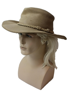 1970's Mens Accessories - Leather Western Cowboy Style Hat