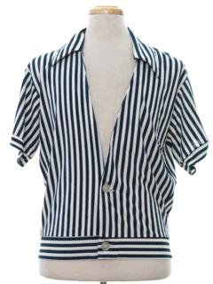 1960's Mens Mod Terrycloth Beach Sport Shirt